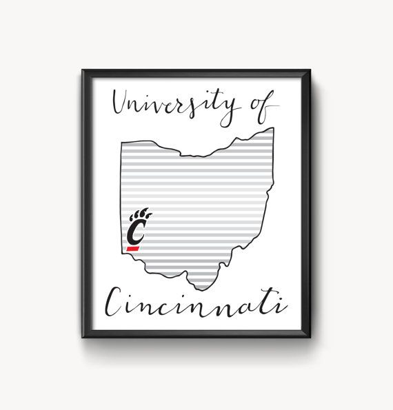 University of Cincinnati Hand Lettered Print by AmandaLouiseDesign