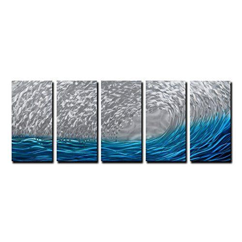 Yihui Arts Blue Metal Wall Art Large Scale Decor In Abst Https Www Amazon Com Dp B01naqexd3 Ref Cm Sw R Pi Dp U Metal Wall Art Ocean Design Sea Wall Art