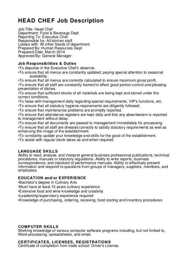 Duties Of A Chef Head Chef Job Description Sampleresume Freeresume Chef Job Description Resume Examples Sample Resume
