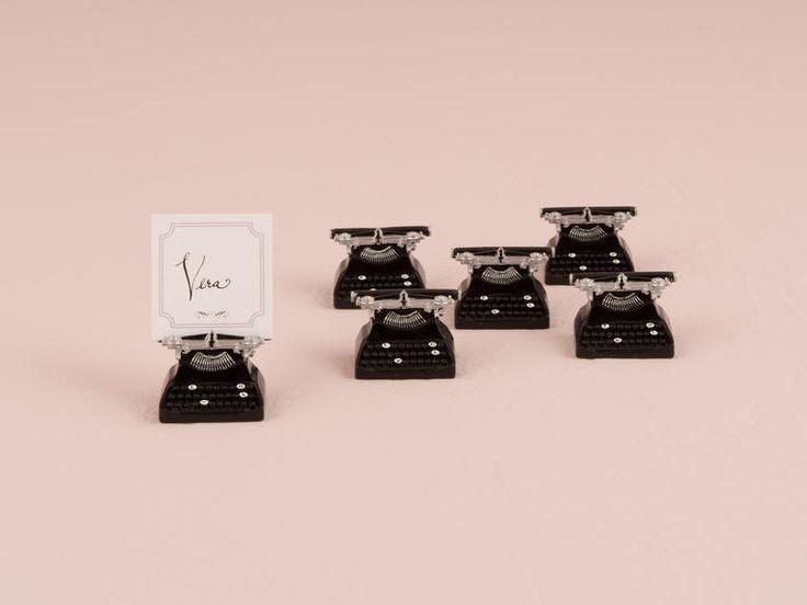 Vintage-style typewriter place card holders