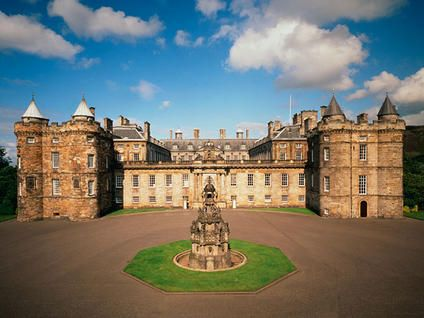 Palace of Holyroodhouse in Edinburgh, Scotland, is the Queen's home away from home when in Scotland.