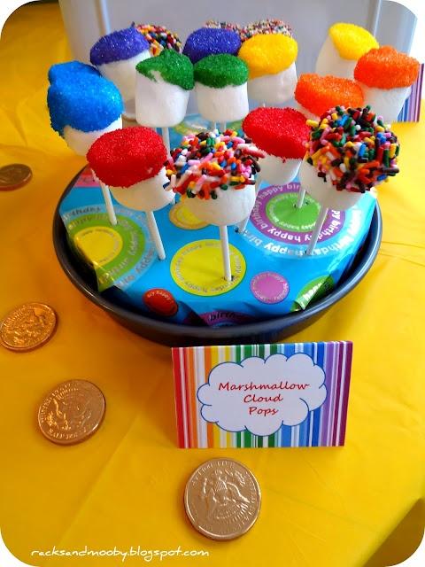 Rainbow Birthday PartyRainbows Colors, Rainbows Birthday Parties, Birthday Parties Food, Rainbows Marshmallows, Rainbows Parties, Parties Ideas, Rainbow Birthday, House Parties, Marshmallows Pop
