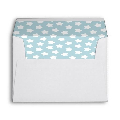 Cute Baby Blue Pastel Star Lined White A7 Envelope
