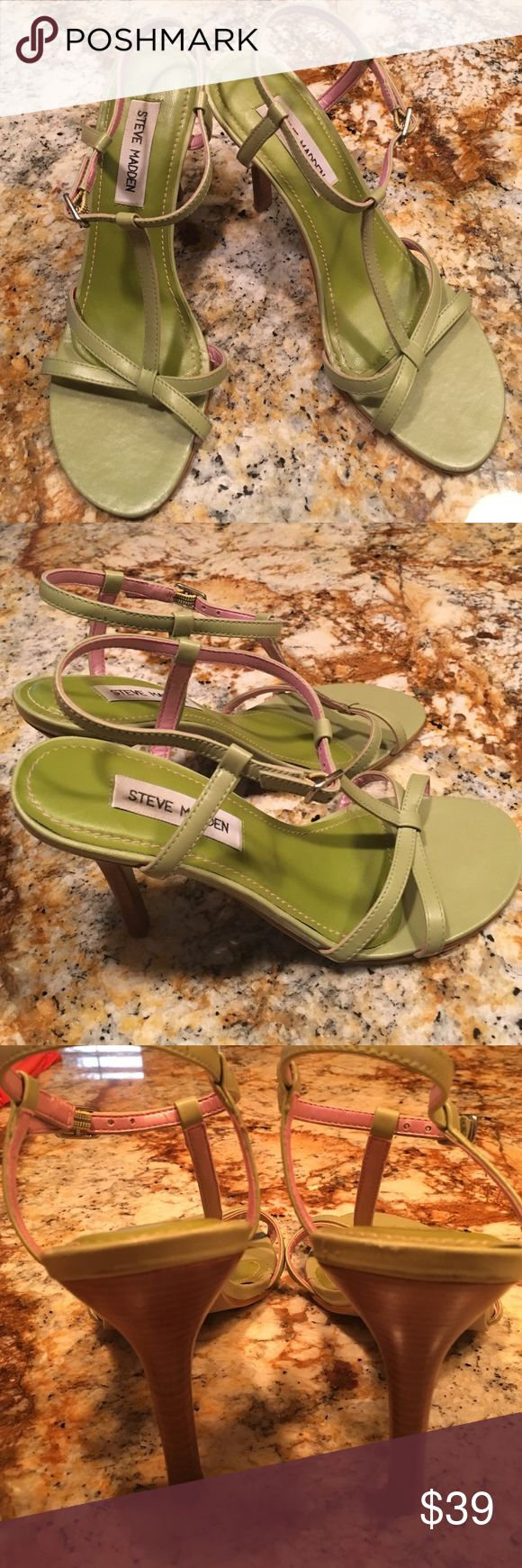 "Steve Madden Trinity green strappy heels Steve Madden Trinity green with pink lining leather strappy 4"" heels. Steve Madden Shoes Heels"