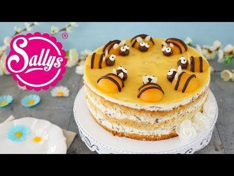 Sommerliche Bienentorte / Buttermilch-Stracciatella-Torte mit Pfirsich - YouTube