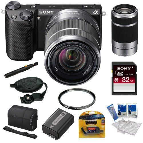 sony nex5rkb 161 mp compact lens digital camera with 1855mm lens and 3inch lcd in black sony sel 55210mm f4563 lens sony 32gb