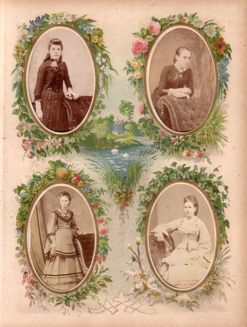 Four seasons page from a Victorian photograph album. The photographs (carte de visite size) are of four young ladies in various poses, dress...