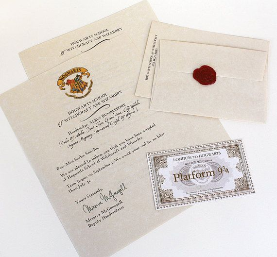 Hogwarts Acceptance Letter Package   I just ordered this for Sophie! We are using this to announce her surprise trip to Orlando in March! It's customized and I can't wait for her to open it on Valentine's Day!!!