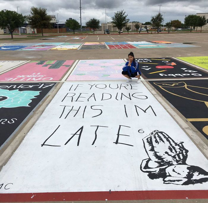 High School Seniors Paint Their Parking Spots And Their Art Goes Viral On…