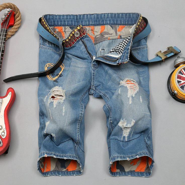 2016 Мужчин Короткие Джинсы Мужские Отверстие Шорты Мужчин Люблю Тебя и Меня летней Одежды Новая Мода Бренд мужской Короткие Штаны До Колен джинсы