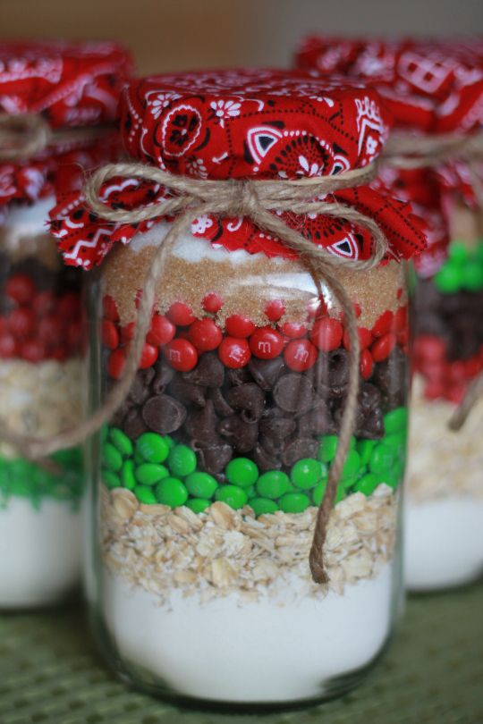 """Cookies in a Jar. Yummy recipe! (and customizable for all occasions by the color of mm's you use) the bandana is a fun touch, considering these are """"Cowboy cookies"""""""