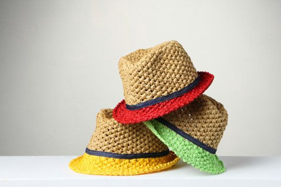 Raffia crochet hats, fedora style hats, summer hats, Kid's hats