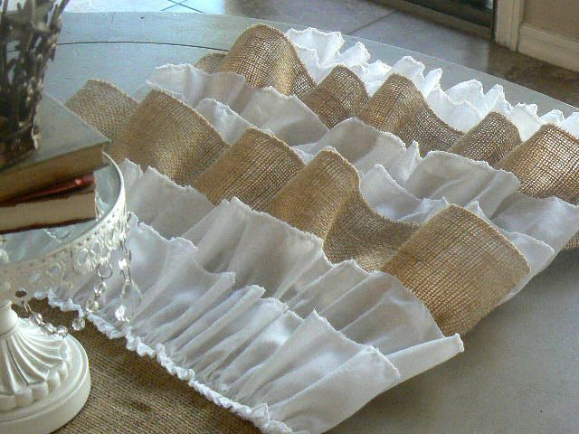 Burlap Ruffled Table Runner   Shabby Chic Rustic   with burlap and white cotton ruffles.