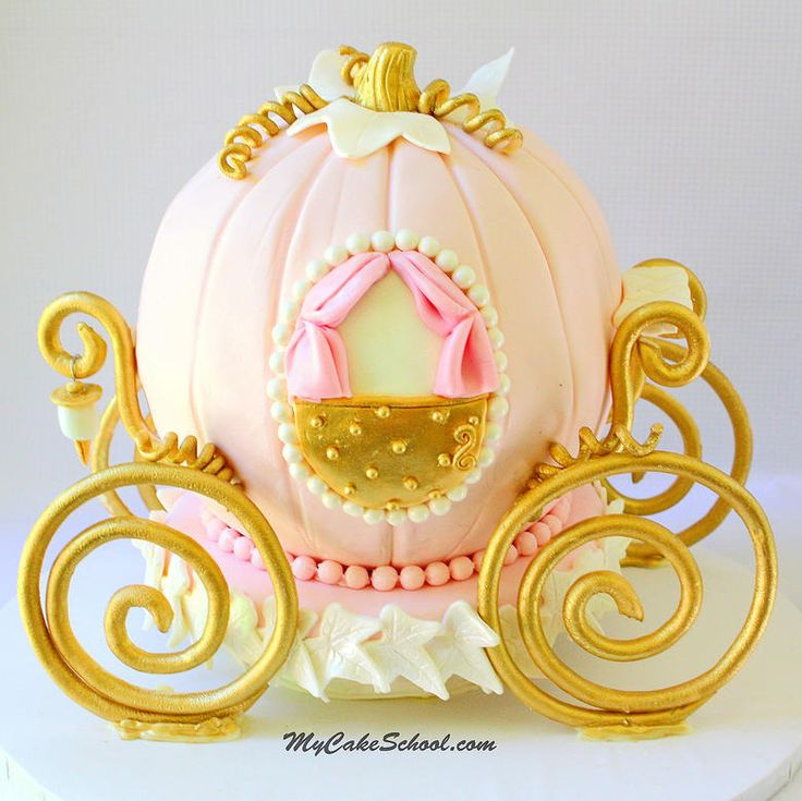 Cinderella Carriage Cake Tutorial by MyCakeSchool.com! Member cake video section. The perfect cake for princess parties and fairytale themes! My Cake School.
