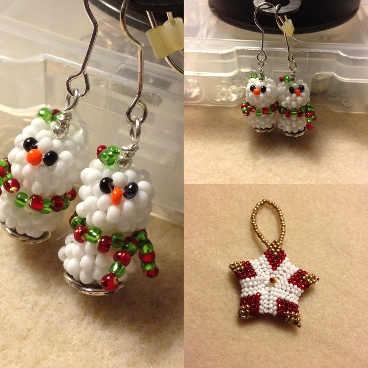 I made... Christmas snowman earrings. Christmas star decoration. Size 11 seed beads,  peyote/ herringbone stitch