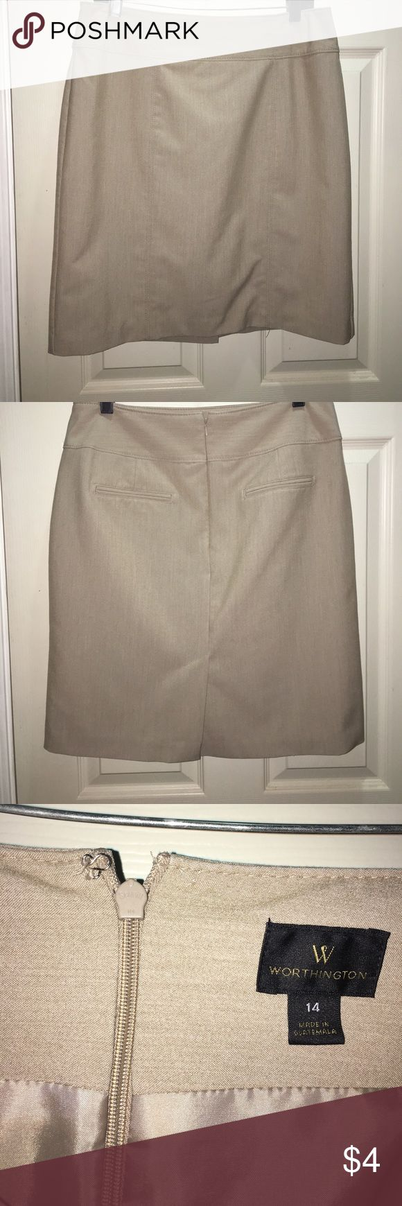 Tan pencil skirt Tan pencil skirt. Missing the hook for the hook and eye (easy to sew back on). Not stretchy fabric Worthington Skirts Pencil