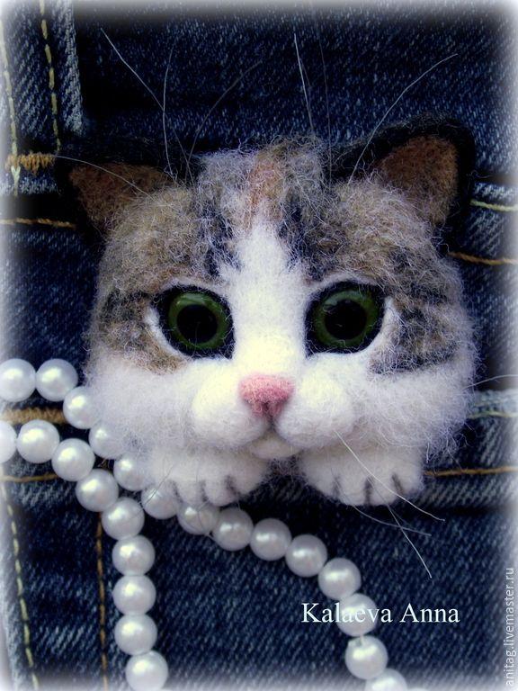 Купить Кошечка брошь - разноцветный, котик, кошка брошь, кот, котенок из шерсти, брошь
