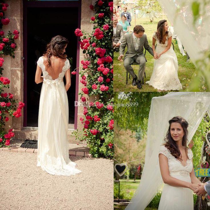 Wholesale Garden Wedding Dress - Buy 2015 Backless Lace Chiffon Garden Wedding Dresses Pregnant Cap Sleeve Empire V Neck Beads Sash Beach Bridal Party Maternity Gowns Custom, $123.46 | DHgate.com