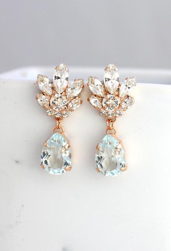 60f7af3848667 Bridal Chandeliers, Aquamarine Chandelier, Blue Sky Earrings, Bridal ...