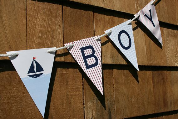 Great Price printed perfect! - Printable Nautical Sailboat Baby Shower Banner, $5.00