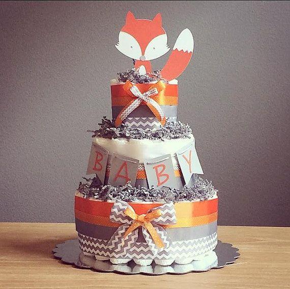 Orange and Gray Woodland fox chevron diaper by JennyKnickDesigns