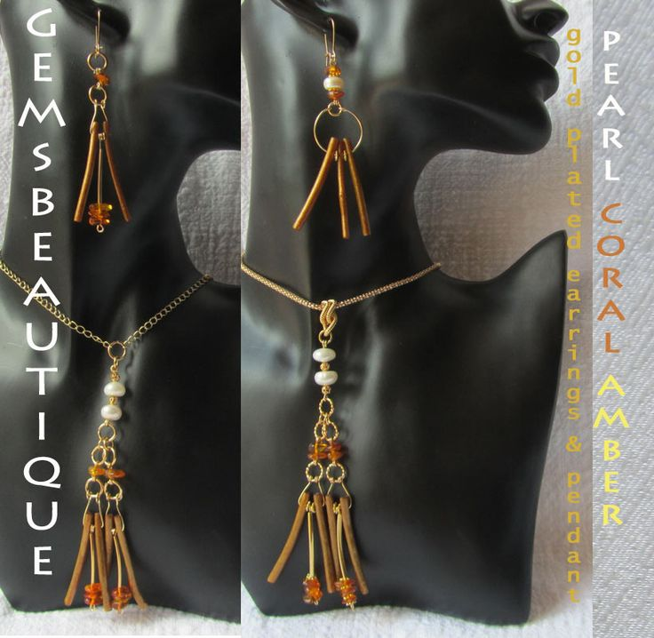 #Coral #Pearls #Amber  #Earrings and #Pendant  Gemstone #Jewellery by #GemsBeautique