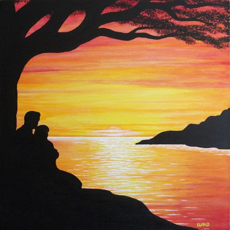 Sunset Painting~ gradation with black silhouette