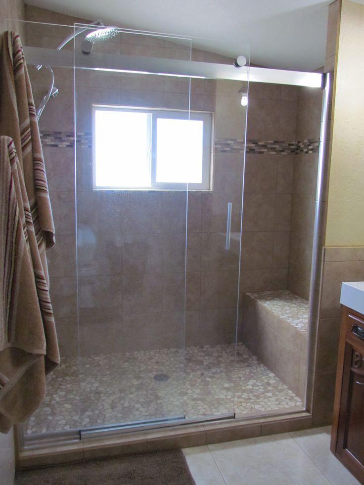 Large Mixed Quartz Mosaic Tile Shower Pan