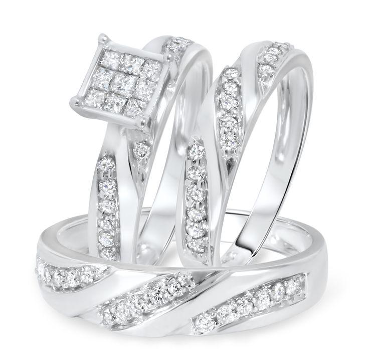 TW Diamond Trio Wedding Ring Set 14K Yellow Gold
