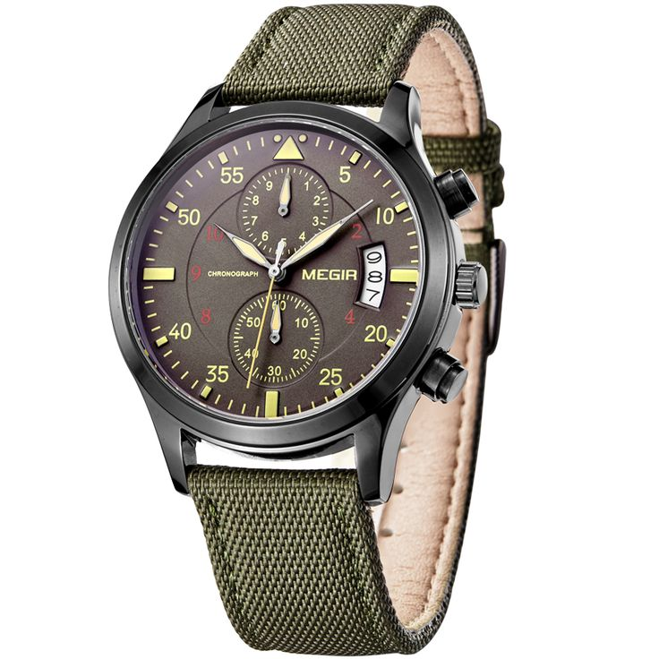 2016 Simple pilot military form Megir stylish Chronograph luxury fashion mens watch designer funky army sports charm dress