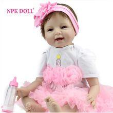 bebê reborn de 55cm boneca bebe reborn boneca Boneca de bebê recheada de silicone menina Handmade 22 inches dolls para crianças brinquedos(China (Mainland))