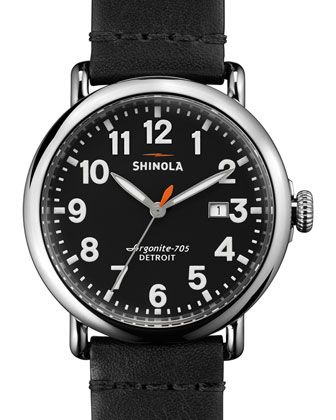 41mm Runwell Leather Watch, Black  by Shinola at Neiman Marcus.