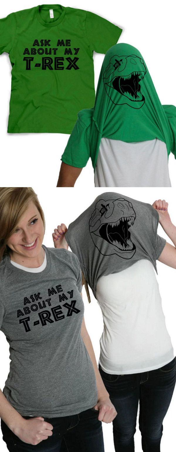Rule the lands in this T-rex flip up shirt. An exclusive to the Crazy Dog T-shirt line, this is the shirt that started it all. The T-Rex flip shirt is a single tee that flips over your head to turn you in to a Tyrannosaurus Rex when someone asks you about your T-Rex. Available in Green, Grey, Red, and Blue.
