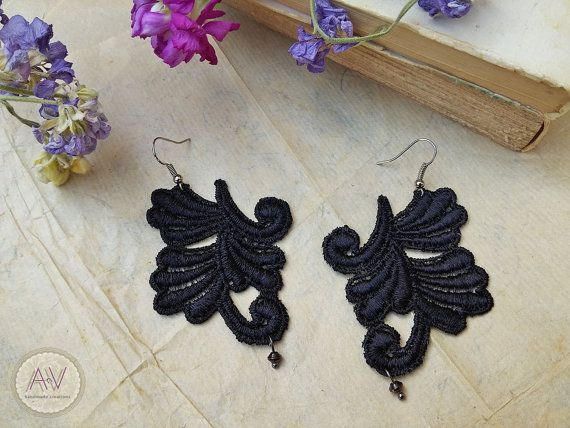 Lace Earrings Black Lace Jewel Art Nouveau by AnVhandmadecreations