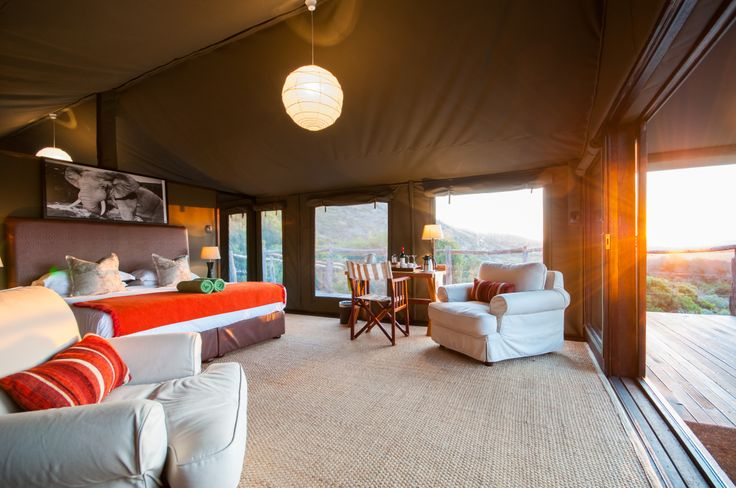 One of the Safari tents at sunset...