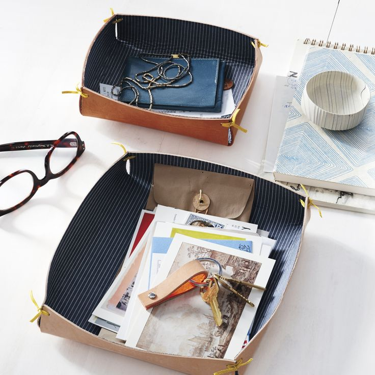 Fabric-and-Leather Catchall | Step-by-Step | DIY Craft How To's and Instructions| Martha Stewart  Corral your desk's loose papers and odds and ends in a chic yet simple-to-assemble shallow leather box.