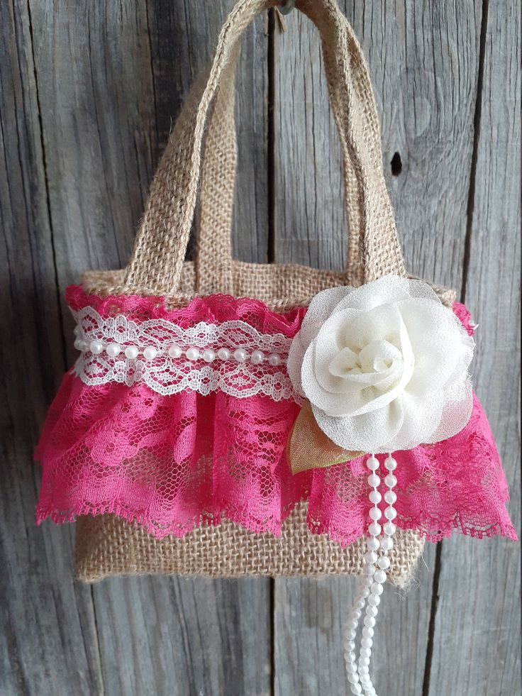 Burlap and lace flower girl basket hot pink with ivory