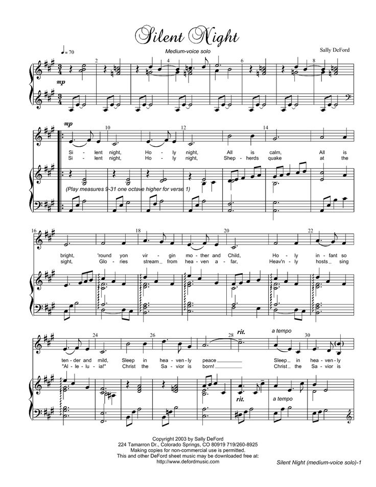 Silent Night (by Sally Deford -- Vocal Solo) nice arrangement.