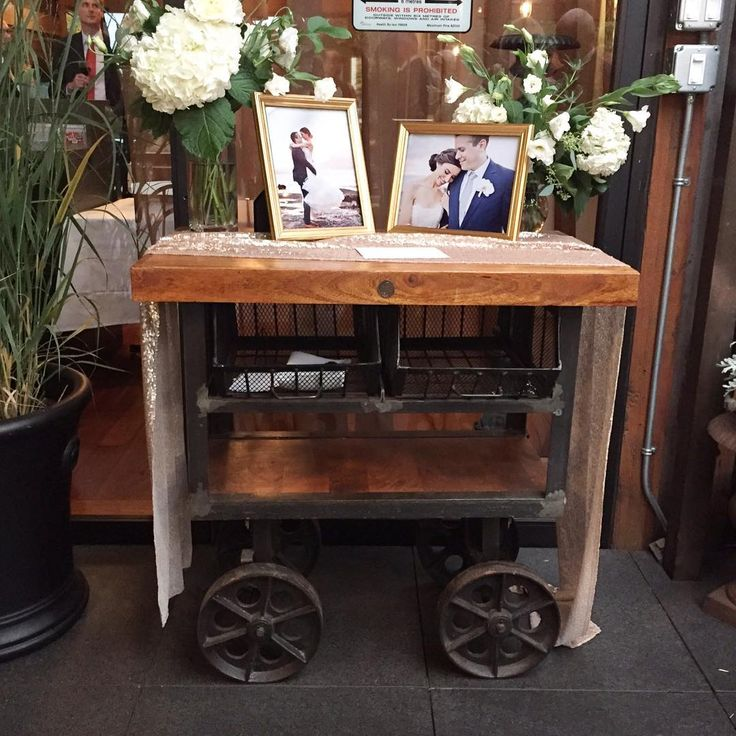 We also do rentals for events! One of our IND116-B Industrial 2 Bin Wood Top Trolley Carts at a wedding reception! Check out our website for our entire selection and contact us for details!