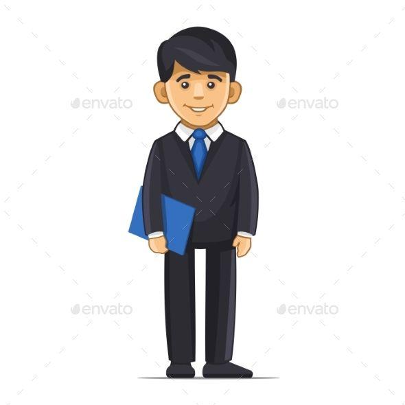 Smiling Businessman with Blue Folder
