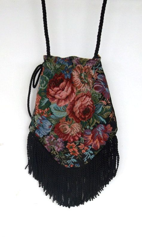 "Victorian Floral Bag with 4"" Black FringeTrim  Rose Floral Tapestry  Gypsy Bag  Boho Bead Bag  Cross Body Bag"