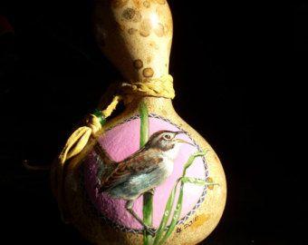Hand Painted Gourd- Wren