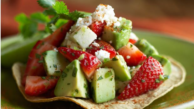 Who doesn't love a tostada? How about a strawberry tostada? Now we're talkin'! This dish's beautiful colors are only second to its incredible flavor.: Fun Recipes, Dashrecip, Avocado Tostadas, Healthy Snacks, California Strawberries, Toast Recipes, Strawberries Avocado, Strawberries Tostadaslook, Strawberries Tostadas Looks