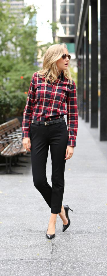 The Classy Cubicle: Fall Favorite. {work wear, Ralph Lauren plaid flannel shirt and Theory black crops}