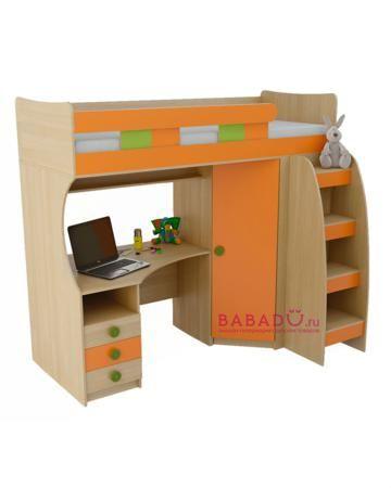 UFOkids 80x200 см с рабочим местом и шкафом Флайя  — 27610р. --- Кровать-чердак 80x200 см с рабочим местом и шкафом Флайя UFOkids для комнаты дошкольника и школьника. Ложе находится наверху, под ним расположен стол и шкаф.