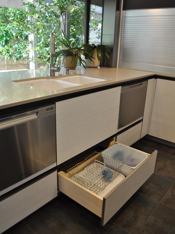 Contemporary Kitchens from Nar Bustamante on HGTV LIKE DRAWER UNDER SINK FOR DISHES