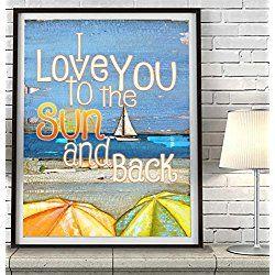 I love you to the Sun and Back - Danny Phillips art print, UNFRAMED, Vintage Sailboat Ocean Coastal beach umbrellas nautical sunset coastal art decor poster, mixed media collage painting