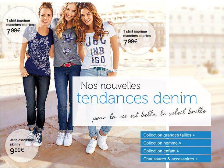 Bonprix Nouveautés vetements femme pas cher, découvrez les nouvelles Tendances Denim femme des petits prix à partir à 7.99 € avec le T-Shirt imprimé manches courtes