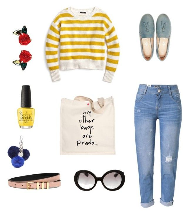 """MyStyle"" by hbergrudlang on Polyvore featuring J.Crew, WithChic, Prada, OPI, Nine West and Sandro"