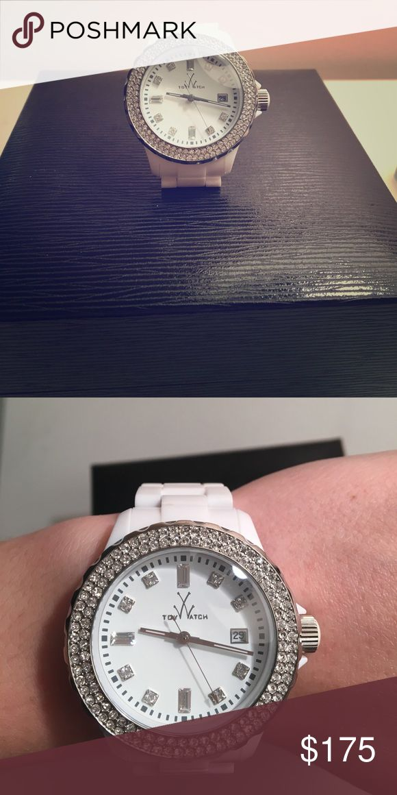 Stainless steel water resistant 5ATM Toy Watch. Toywatch ladies plasteramic white with Swarovski crystals. Toywatch Accessories Watches